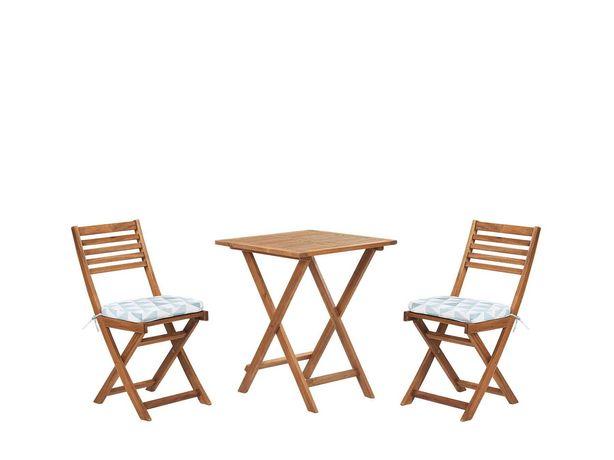 Castorama drewniane meble balkonowe jak nowe, stół+2 krzesła+poduszki