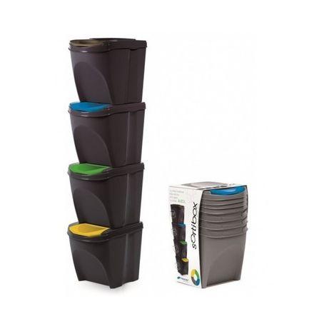 Conjunto de 4 caixotes lixo ANTRACITE ECOLÓGICOS 25 LITROS