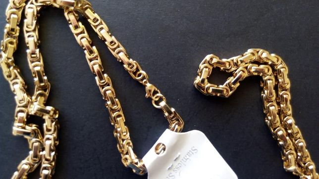 złoty łańcuszek,pozłacany łańcuszek,nowy 316l,Platerowany złotem 14k
