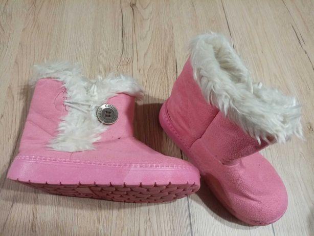 Różowe mukluki dziecięce, śniegowce rozmiar 30