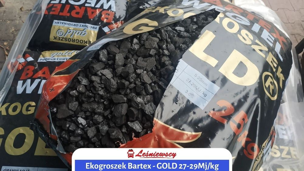 Ekogroszek Bartex-GOLD węgiel SUPER JAKOŚĆ popiół 3-5% MOCNY kaloryczn
