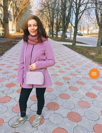 Демисезонное пальто, пальто весна, сиреневое пальто