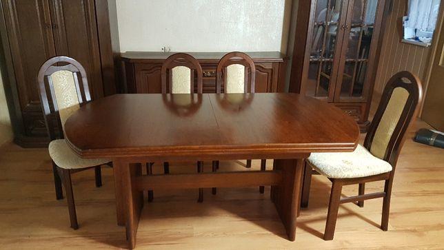 Meble bydgoskie, szafa, stół rozkładany, krzesła, witryna przeszklona