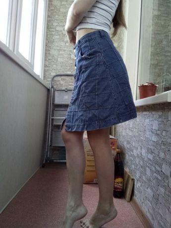 Джинсовая юбка с высокой талией посадкой от TOPSHOP