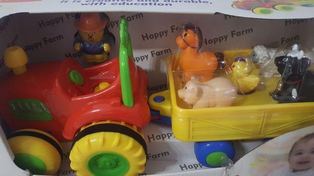 Traktor z przyczepą, farmer