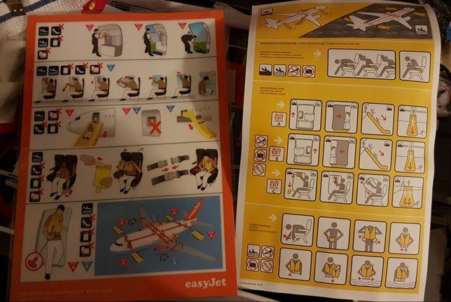 Instruções de segurança Transavia,Tap,Vueling e Easyjet