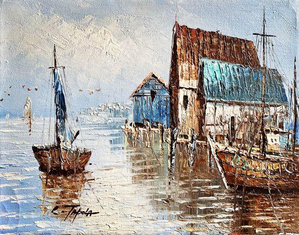 Marynistyka, obraz olejny, 36x30 cm