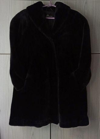 Eleganckie czarne błyszczące sztuczne futro płaszcz vintage retro