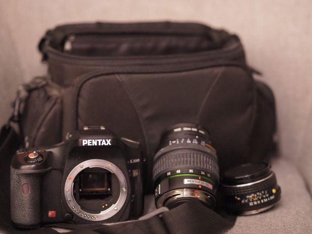 Aparat Pentax K200 + 2 obiektywy i torba