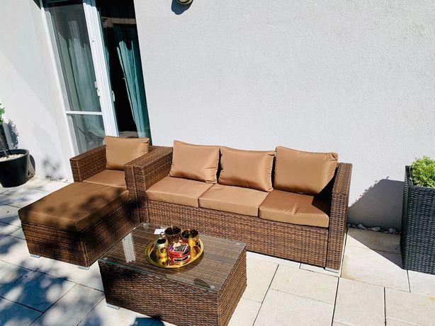 BORNEO zestaw mebli brązowy technorattan sofa fotel pufa