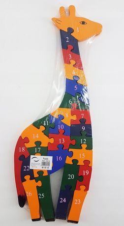 Edukacyjna drewniana układanka puzzle żyrafa cyfry liczby alfabet