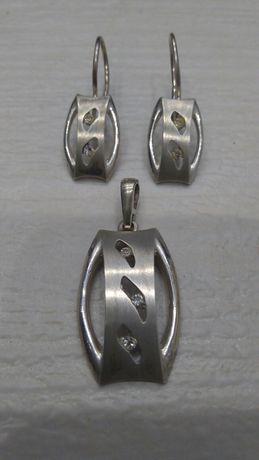 Komplet srebrny damski, kolczyki i zawieszka (próba 925) NOWY