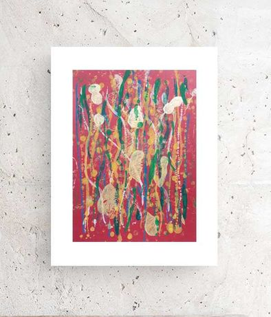 bordowa abstrakcja, nowoczesny rysunek A3, minimalizm obraz