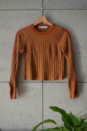Top sweter z prążkowanej dzianiny Zara