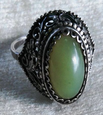 Кольцо перстень каблучка СССР серебро *925 хризопраз