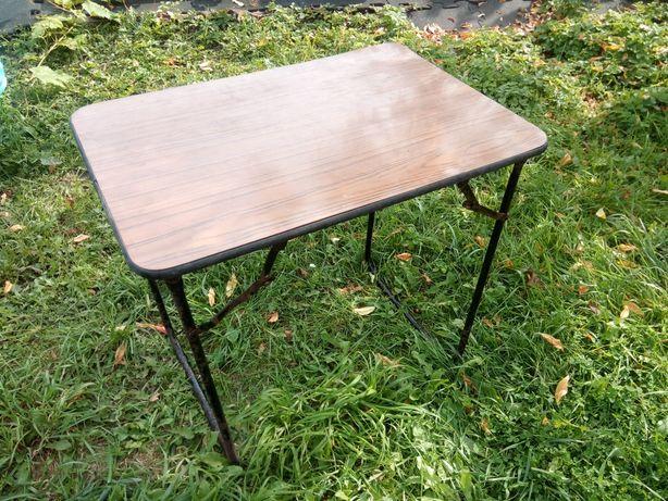 Składany stolik stół turystyczny z drewnianym blatem