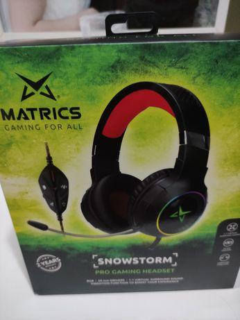 Auscultadores gaming Matrics snowstorm novos