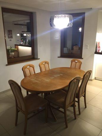 Stol drewniany i 6 krzesel z litego drewna - do odswiezenia