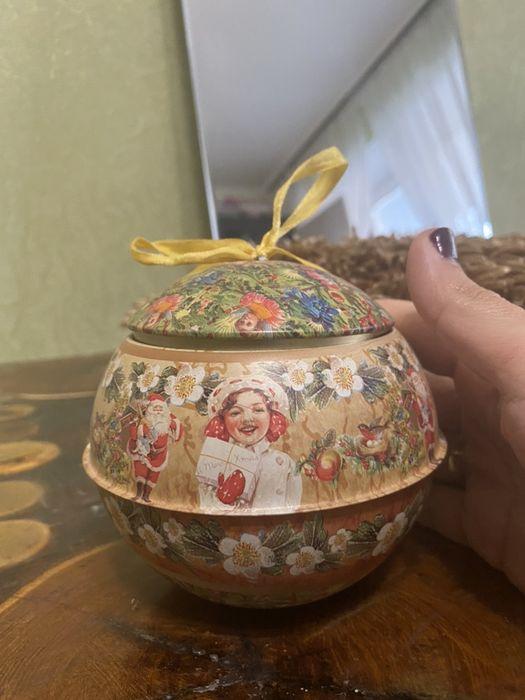 Новогодняя шкатулка, шкатулка в форме шара ,коробка для подарка Николаев - изображение 1