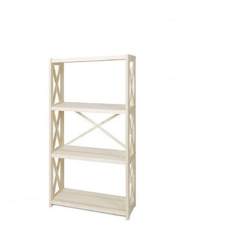 Этажерка книжный стеллаж RAN4 белый 300x800x1200 4 полки дерево