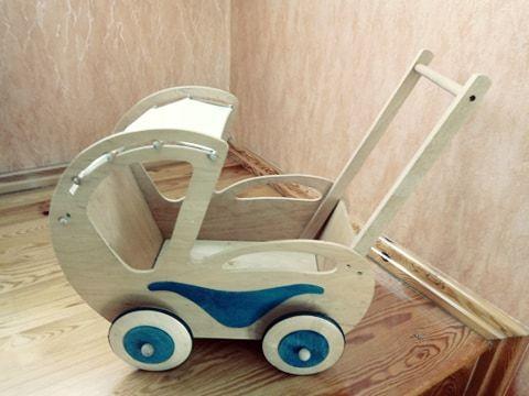 Wózek drewniany dla lalek ECO