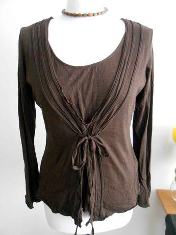 Brązowa bluzka boho M/L wiązana z przodu vintage