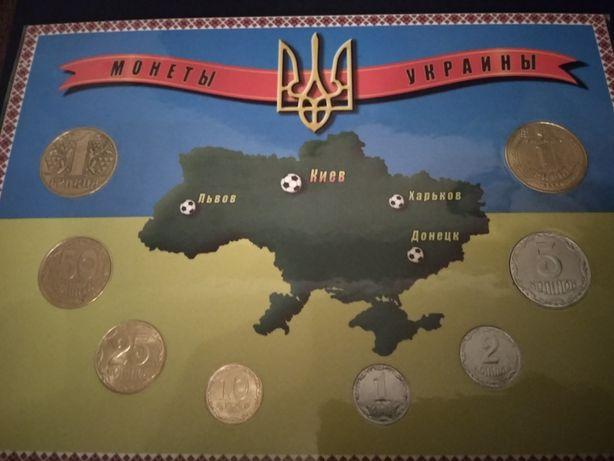 набор монет к евро 2012 заламинированый ручная работа