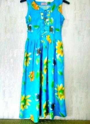 Яркое летнее платье – сарафан, натуральн. 100 % хлопок, разм. 48 - 50.