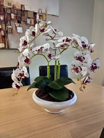 Vaso com 3 orquídeas artificiais