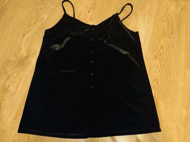 Czarna welurowa bluzka na ramiączkach reserved M 38