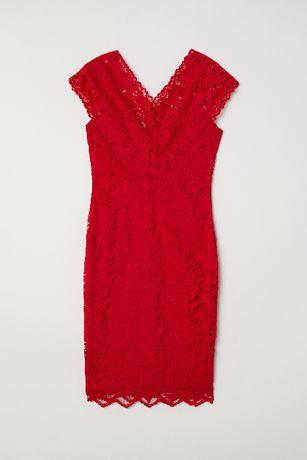 Nowa czerwona koronkowa sukienka w serek HM 38 sylwester studniówka