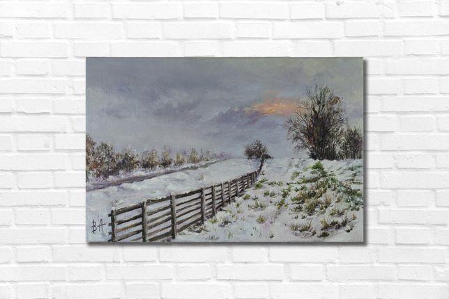 """Картина маслом """"Первый снег"""" 30х45 см, холст на подрамнике, масло"""