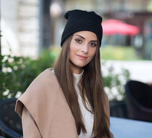 Czapka zimowa damska beanie blogerska modowa modna fasolka skarpeta