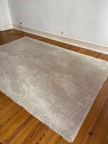 Tapete de sala peludo, aspeto lã, branco, La Redoute
