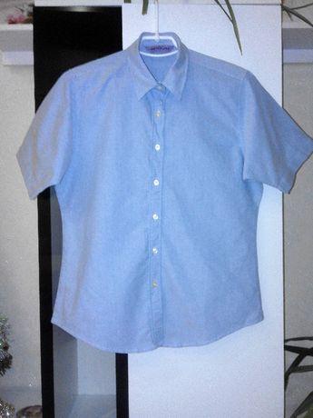 Стильная голубая рубашка с коротким рукавом