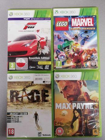 Gry na Xbox 360: Lego Marvel ,Max Payne3,Forza Motosport4,Rage anarchy