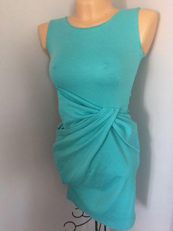 Sukienka okolicznościowa pistacjowa xs s szerokie ramiączka elegancka