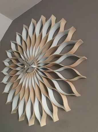 Biały, drewniany zegar ścienny -88 cm