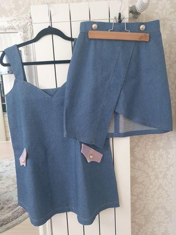 Джинсовый комплект, юбка и сарафан