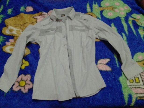 Рубашка в школу подростку серая в полоску р.164 см