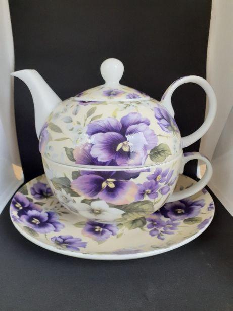Porcelanowa filiżanka z dzbankiem do herbaty CARMANI (Nowa)