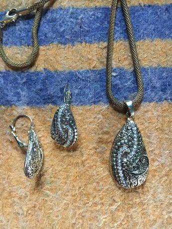 Набор украшений колье цепочка кулон подвеска и сережки