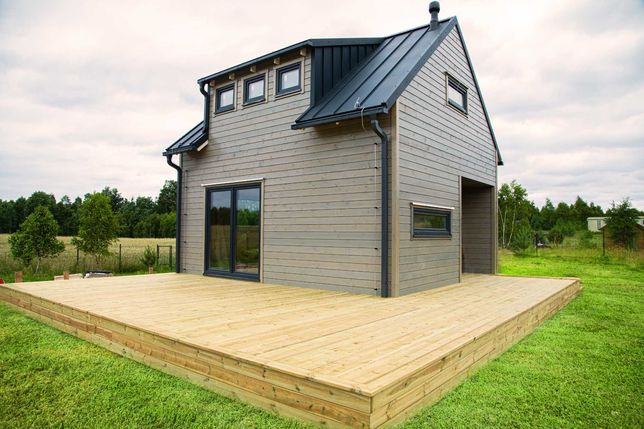 Dom drewniany, dom skandynawski szkieletowy, dom całoroczny-Trójmiasto