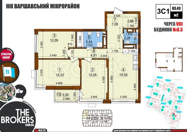 3к ЖК Варшавский, без комиссии! 82,95 м2 (10й этаж),пр. Правды