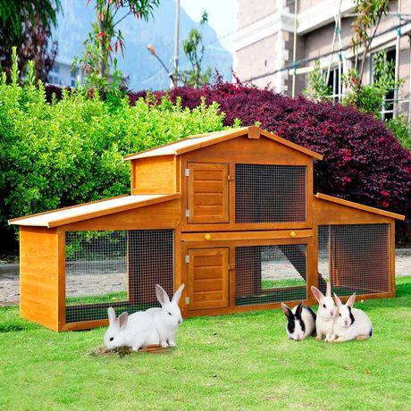 Casa do coelho com rampa e zona aberta   215x63x100 cm Madeira (NOVA)