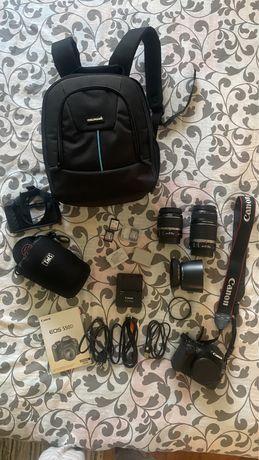Canon 550D com 2 lentes e mochila