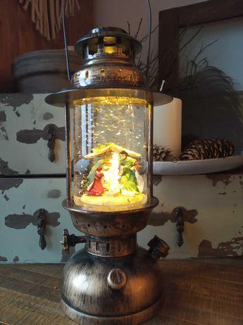 Ozdoba swiateczna latarina wodna z szopka