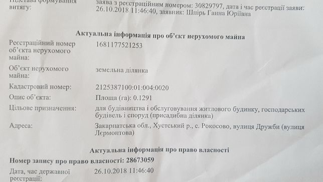 Приватизована земельна ділянка Участок 12.9соток с.Рокосово вул.Дружби