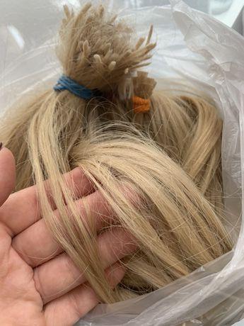 натуральные волосы для наращивания в капсулах, блонд, капсулы