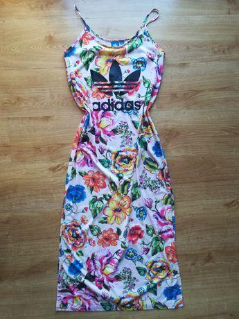 Sukienka adidas oryginalna długa maxi w kwiaty kwiatki S M nowa letnia